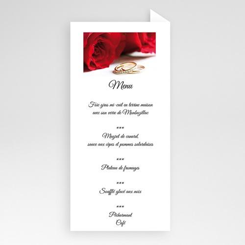 Menu Mariage Personnalisé Roses rouges et alliances pas cher