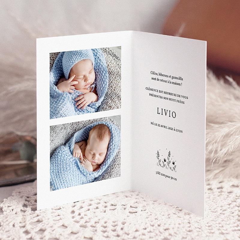 Faire-Part Naissance Garçon Câlins de bébé lapin, 10,5 x 15 cm pas cher