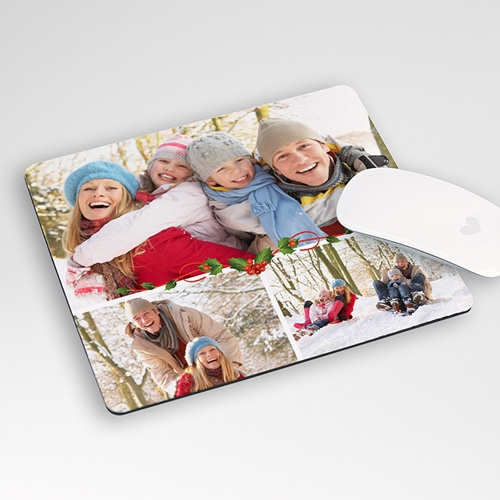 Tapis de souris personnalisé - Houx sur fond blanc 9576