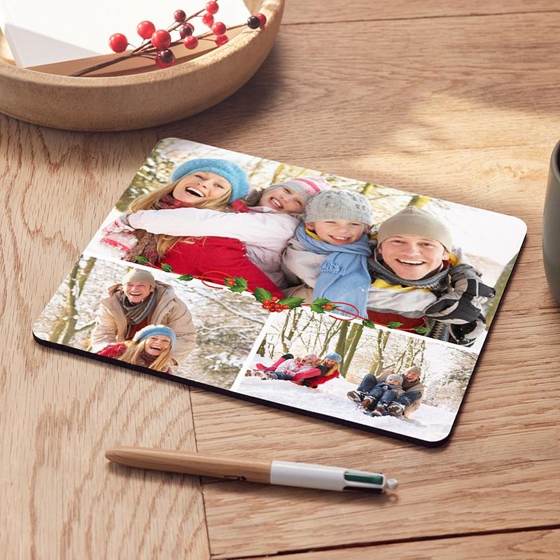 Tapis de souris personnalisé - Houx sur fond blanc 9576 thumb