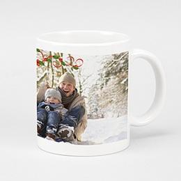 Mug Noël Houx sur fond blanc