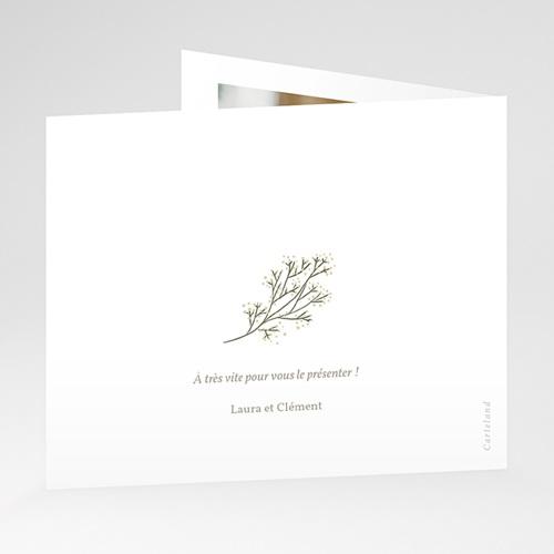 Carte Remerciement Naissance Petit brin doré, pli décalé gratuit