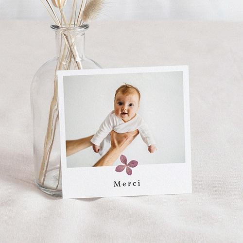 Carte Remerciement Naissance Herbier du Bonheur, Fleurs Parme, 10 x 10 cm