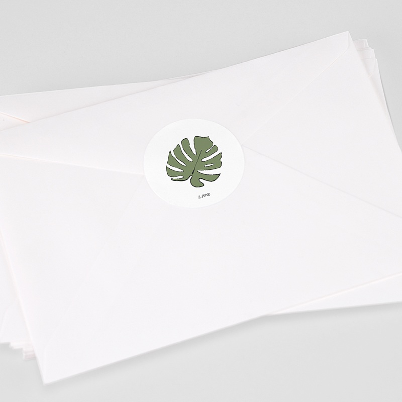 Etiquette Autocollante Naissance Sous les tropiques, 4,5 cm