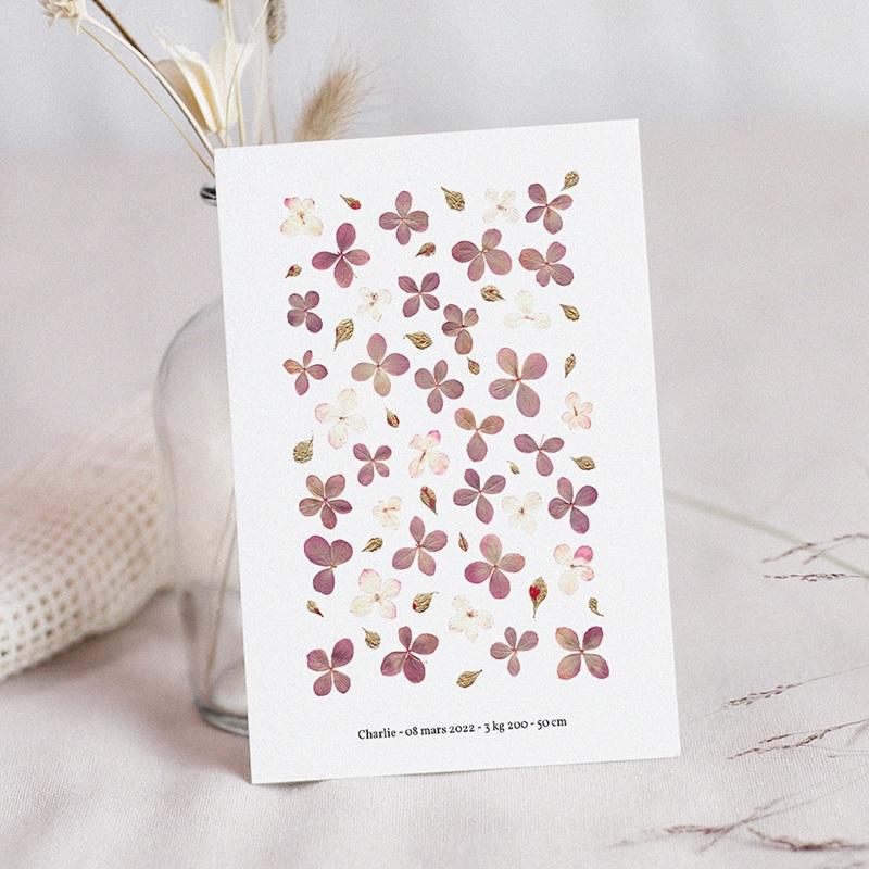 Faire-Part Naissance Herbier du Bonheur, Fleurs Parme, 12 x 16,7 cm
