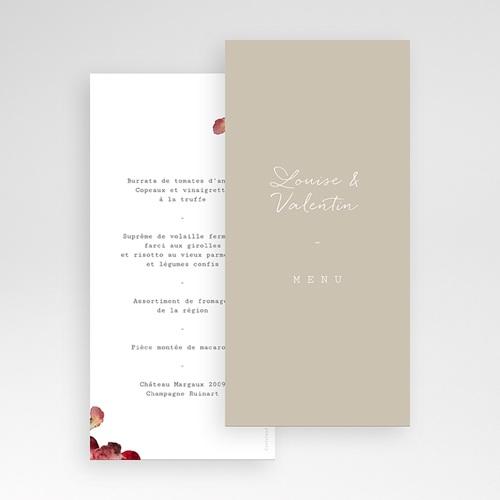 Menu Mariage Bouquet Fleurs Rouges, Repas de noces pas cher