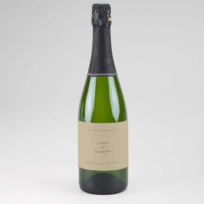 Etiquette Bouteille Mariage Pivoine en silhouette, Champagne