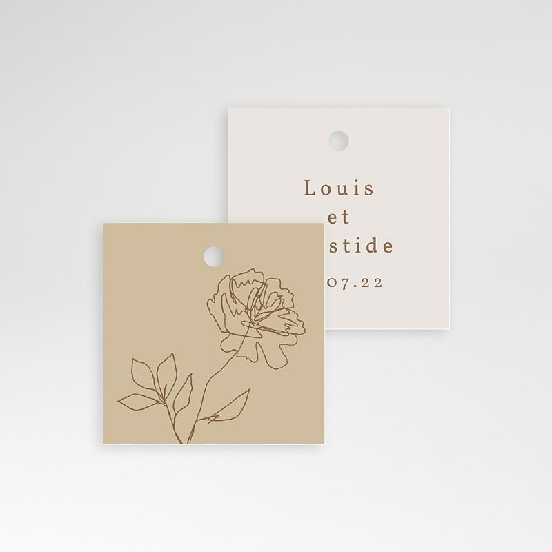Etiquette Cadeau Mariage Pivoine en silhouette, Souvenir pas cher