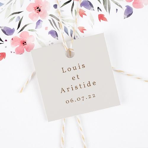 Etiquette Cadeau Mariage Pivoine en silhouette, Souvenir gratuit