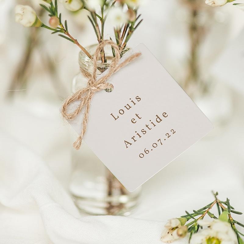 Etiquette Cadeau Mariage Pivoine en silhouette, Souvenir
