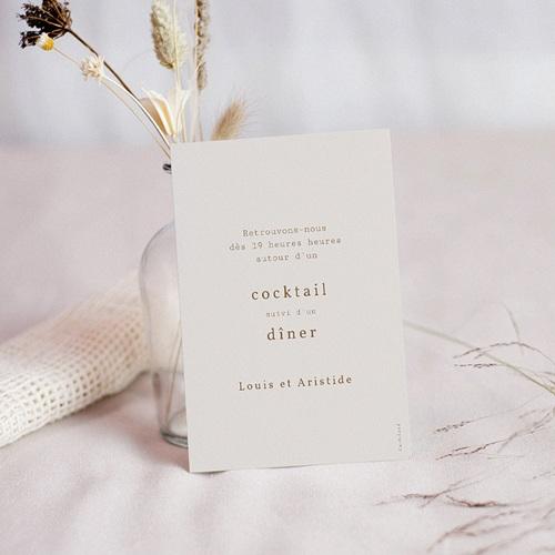 Carte Invitation Mariage Pivoine en silhouette, Cocktail & Dîner pas cher