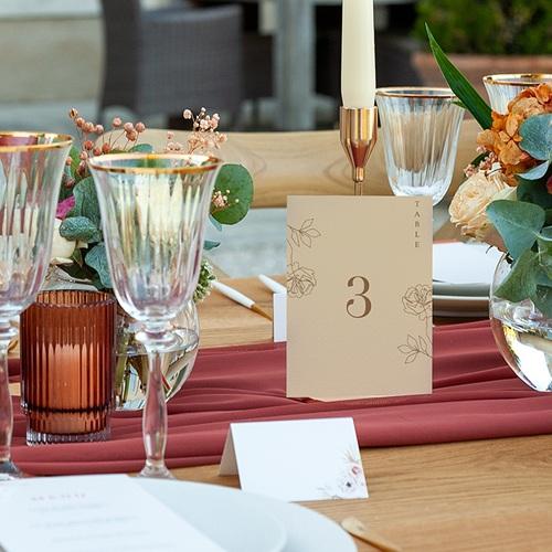 Marque Table Mariage Pivoine en silhouette, Lot de 3 pas cher