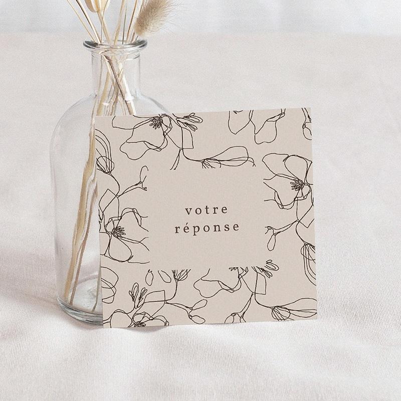 Carton Réponse Mariage Cerisier en silhouette, Beige, Rsvp