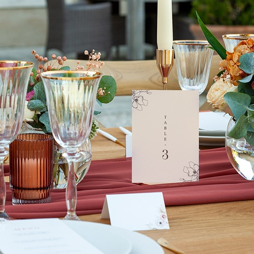 Marque Table Mariage Cerisier en silhouette, Lot de 3 pas cher