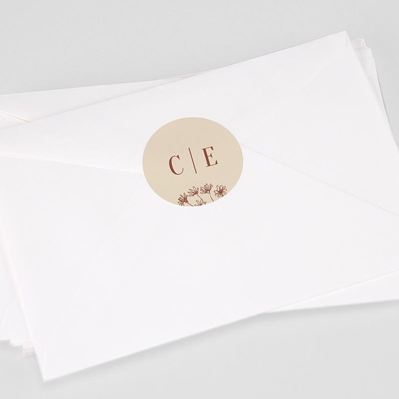 Etiquette Autocollante Mariage Silhouette Fleurs des Champs, sticker