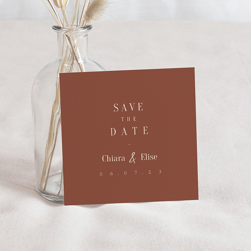 Save The Date Mariage Silhouette Fleurs des Champs, D-Day