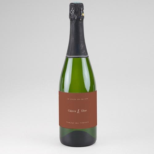 Etiquette Bouteille Mariage Silhouette Fleurs des Champs, Champagne