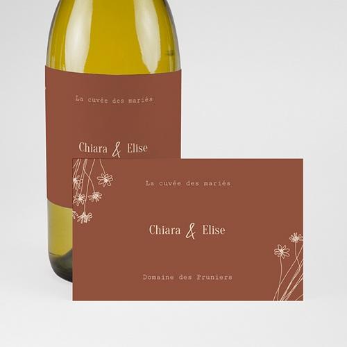Etiquette Bouteille Mariage Silhouette Fleurs des Champs, Champagne pas cher