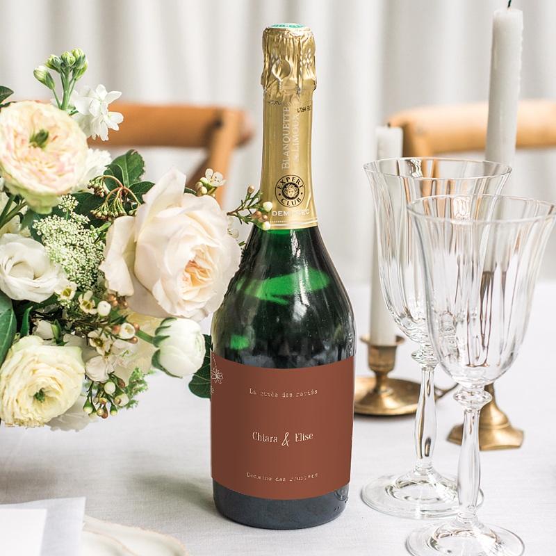 Etiquette Bouteille Mariage Silhouette Fleurs des Champs, Champagne gratuit