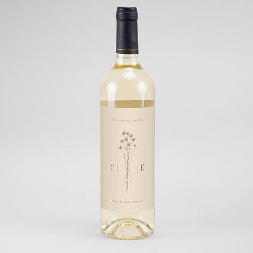 Etiquette Bouteille Mariage Silhouette Fleurs des Champs, Vin
