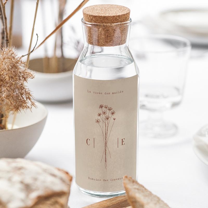 Etiquette Bouteille Mariage Silhouette Fleurs des Champs, Vin gratuit