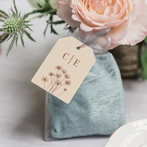 Etiquette Cadeau Mariage Silhouette Fleurs des Champs, Souvenir gratuit