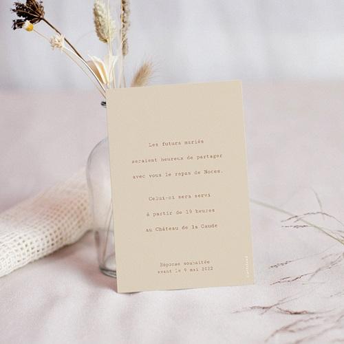 Carte Invitation Mariage Silhouette Fleurs des Champs, Invité Dîner pas cher