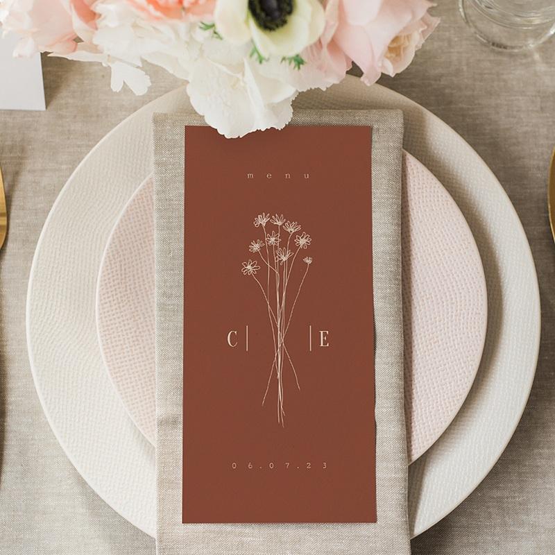 Menu Mariage Silhouette Fleurs des Champs, Bicolore gratuit
