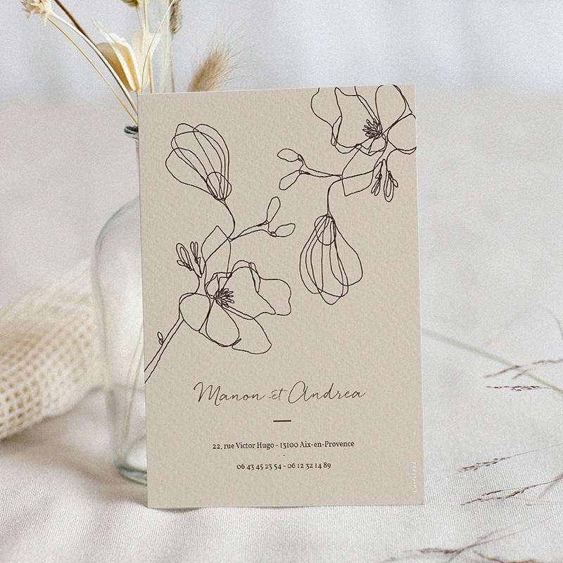 Faire-Part Mariage Cerisier en silhouette, Beige pas cher