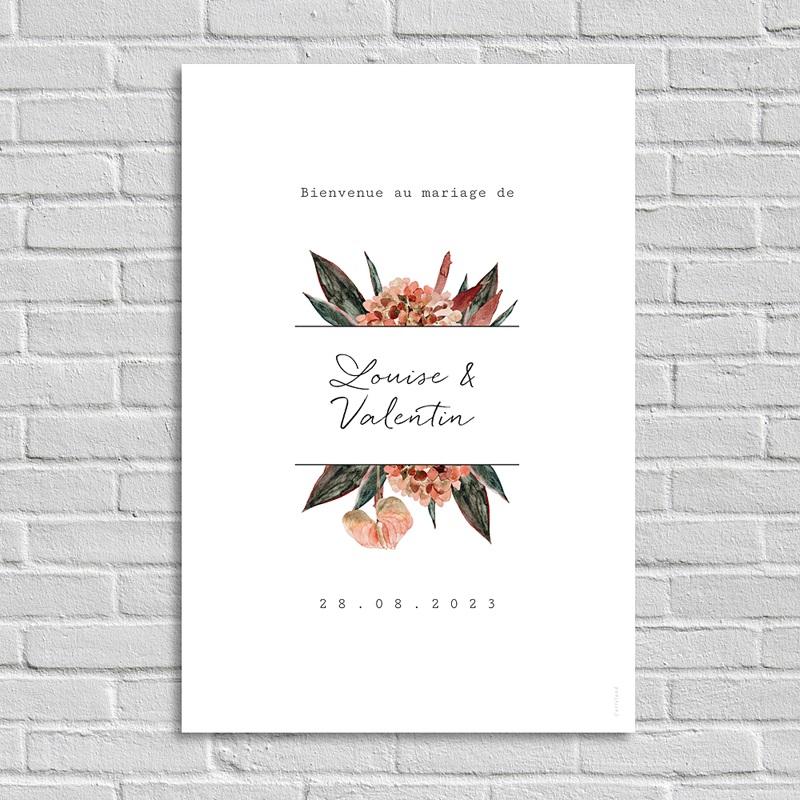 Panneau Bienvenue Mariage Bouquet Fleurs Rouges, Accueil invités
