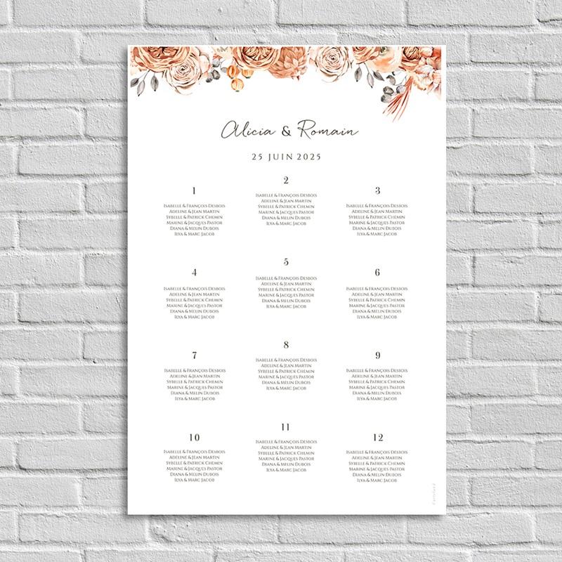 Plan Table Mariage Romantico, Roses caramel
