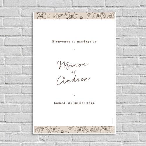 Panneau Bienvenue Mariage Cerisier en silhouette, accueil des invités