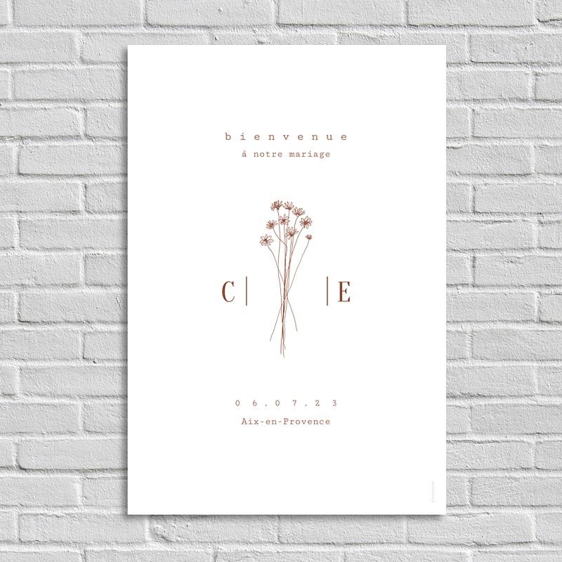 Panneau Bienvenue Mariage Silhouette Fleurs des Champs, Affiche d'accueil