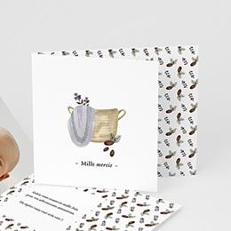 Carte Remerciement Naissance - Panier osier, décor hiver & Pli-décalé - 0