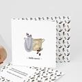Carte Remerciement Naissance Panier osier, décor hiver & Pli-décalé