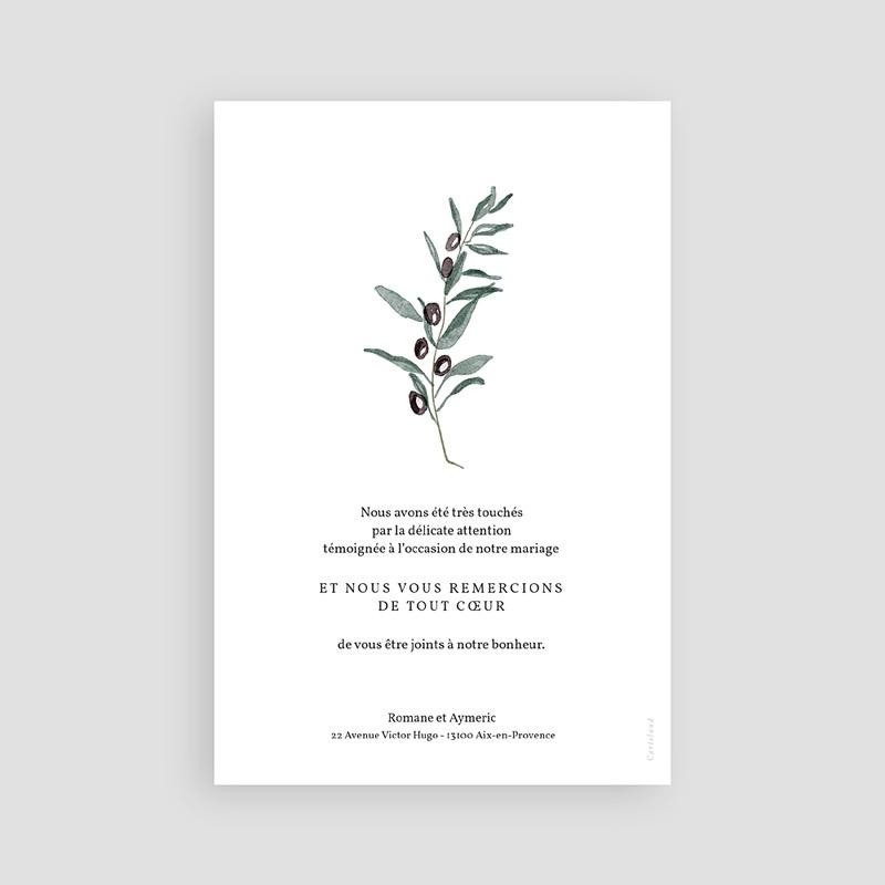 Carte Remerciement Mariage Olivier aquarelle, 10 x 15 cm pas cher
