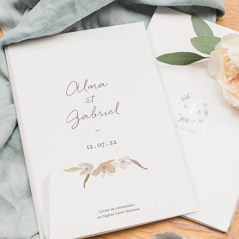 Livret Messe Mariage Couronne Fleurs Aquarelle, Couverture pas cher