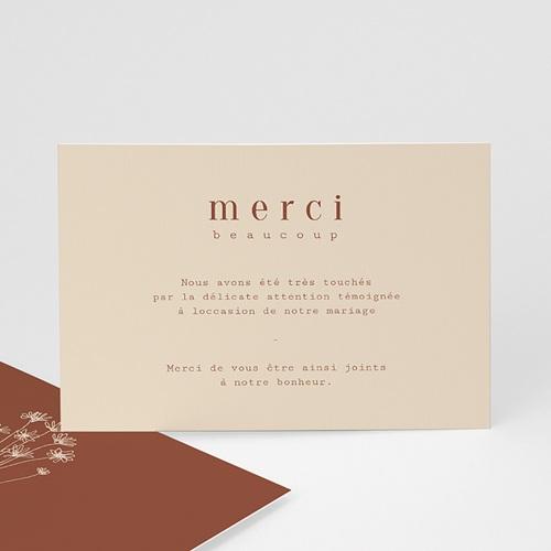 Carte Remerciement Mariage Silhouette Fleurs des Champs, Bicolore