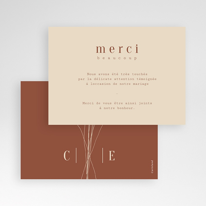 Carte Remerciement Mariage Silhouette Fleurs des Champs, Bicolore pas cher