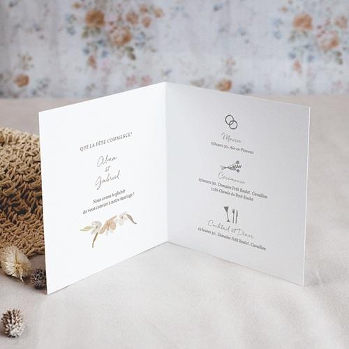 Faire-Part Mariage Couronne Fleurs Aquarelle, 14 x 14 cm pas cher