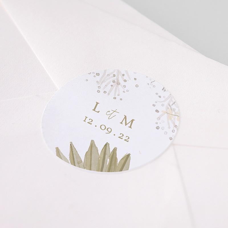 Etiquette Autocollante Mariage Globe de mariée, 4,5 cm pas cher