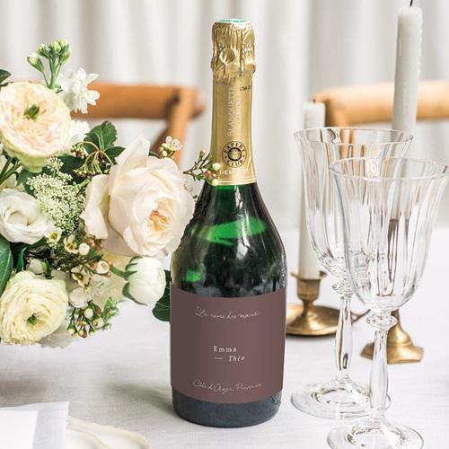 Etiquette Bouteille Mariage Lys en Silhouette, Champagne gratuit
