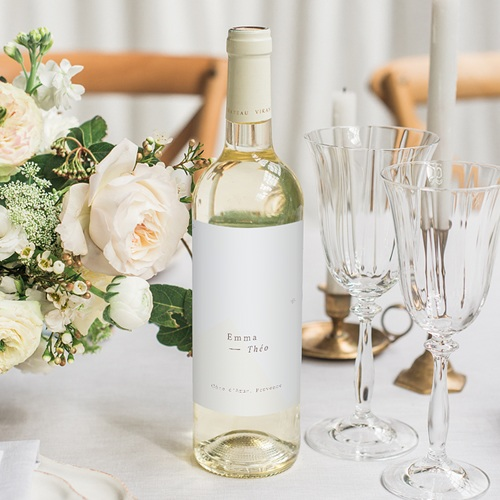 Etiquette Bouteille Mariage Lys en Silhouette, Vin