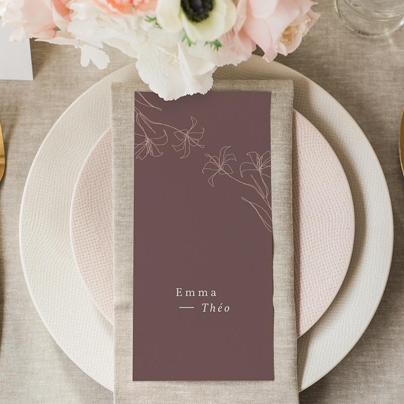 Menu Mariage Lys en Silhouette, repas de noces gratuit