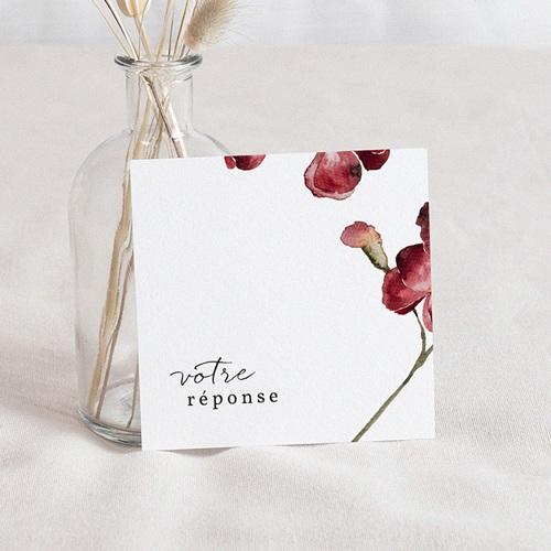 Carton Réponse Mariage Bouquet Fleurs Rouges, verso Beige, Rsvp