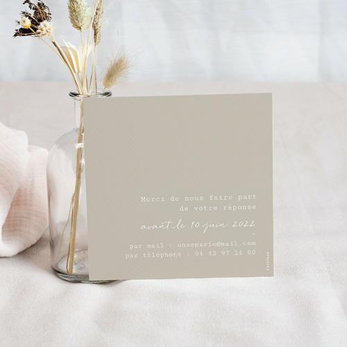 Carton Réponse Mariage Bouquet Fleurs Rouges, verso Beige, Rsvp pas cher