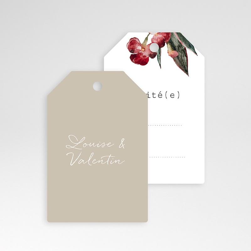 Marque Table Mariage Bouquet Fleurs Rouges, Invité pas cher