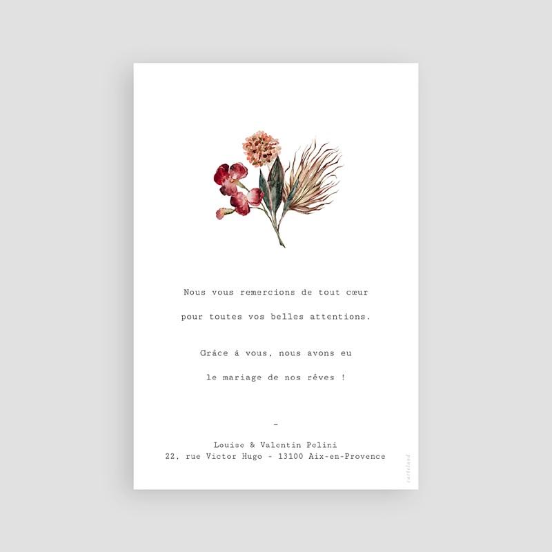 Carte Remerciement Mariage Bouquet Fleurs Rouges, Photo pas cher