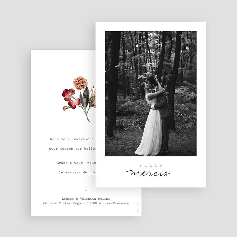Carte Remerciement Mariage Bouquet Fleurs Rouges, Photo gratuit