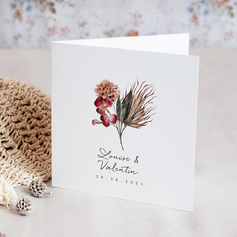 Faire-Part Mariage Bouquet Fleurs Rouges, double volet